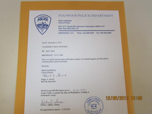 Stanwood Police Department Clearance Letter